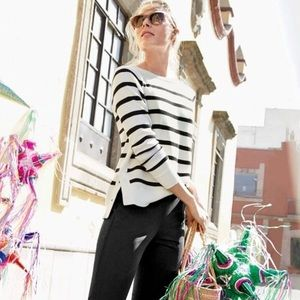 NWT J.CREW SIDE SNAPS STRIPED SWEATER